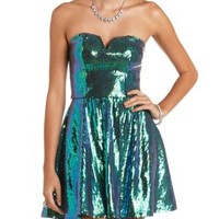Strapless Sequin Skater Dress by Charlotte Russe - Iridescent