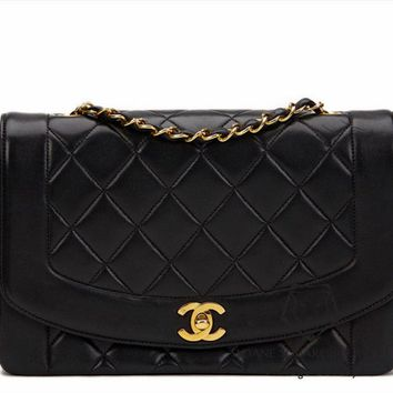 CHANEL BLACK QUILTED LAMBSKIN MEDIUM DIANA CLASSIC SINGLE FLAP BAG GOLD GHW