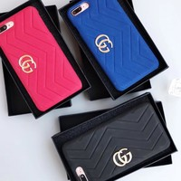 GUCCI Fashion iPhone Phone Cover Case For iphone 6 6s 6plus 6s-plus 7 7plus 8 8plus Red-1