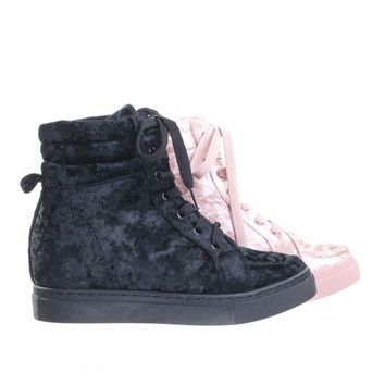 Anchora01 Black By Bamboo, High-Top Hidden Wedge Sneaker w Platform & Metallic Crushed Velvet.
