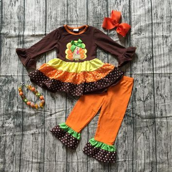 autumn thanksgiving Fall/Winter baby girls brown orange turkey outfits polka dot pant clothes ruffle boutique match accessories