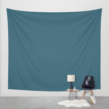 Teal The World (Blue) Wall Tapestry by Moonshine Paradise