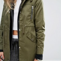 Noisy May Petite Khaki Parka Coat at asos.com