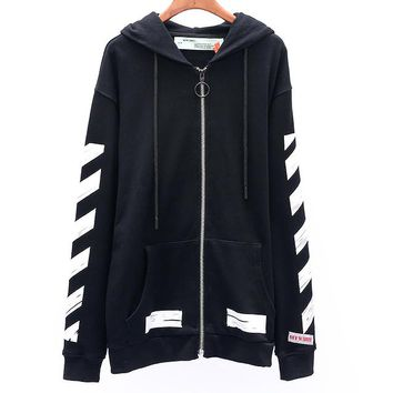 OFF-WHITE autumn new arrow graffiti men and women models hooded zipper sweater Black