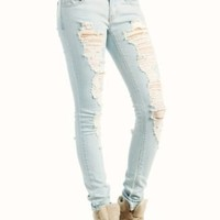 Amazon.com: distressed skinny jeans 7 LTBLUE: Clothing