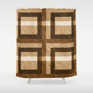 Brown Rock Pixel Pattern Shower Curtain by Likelikes | Society6