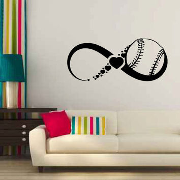 Infinity Sign Symbol with Baseball and Hearts Vinyl Wall Decal Sticker Graphic