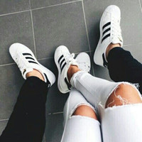 Adidas originals superstar casual shoes gold standard white black