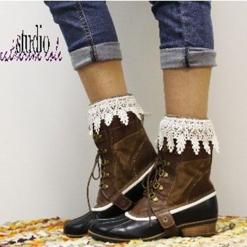 Boot socks, Boot Bkiss, lace socks, cuffs, slouch, knitted, socks, boots, brown | SLXC2L