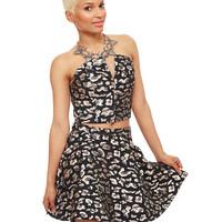 THUNDER CAT LEOPARD BROCADE SKATER SKIRT