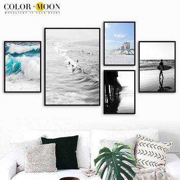 COLORMOON Surf Sea Posters And Prints Wall Art Canvas Painting Landscape Nordic Poster Pop Art Wall Pictures For Living Room