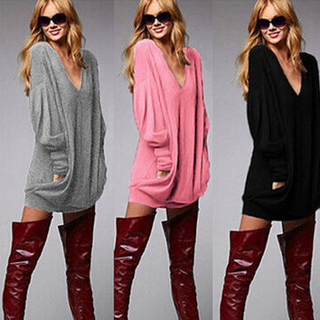 Fashion Plus Size Women's Fashion V-neck Long Sleeve Stylish Tee Winter T-shirts = 4807034052