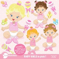 Baby girls clipart AMB-830