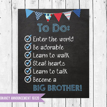 Pregnancy Announcement Chalkboard // Big Brother Announcement Chalk Board // Big brother to do list // Instant Download JPEG Printable