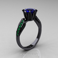 Cara 14K Black Gold 1.0 Ct Blue Sapphire Emerald Solitaire Ring R423-14KBGEMBS