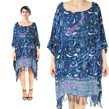 Night Sky Caftan Dress Moon Print Slouchy Summer Kaftan Dress Blue Batik Tie Dye Dress Oversize Draped Muu Muu Fringe Galaxy Dress (L/XL)