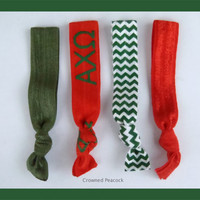 ALPHA CHI OMEGA Sorority Elastic Hair Ties - No Bump, Yoga Hair Ties, Red and Olive Hair Bands, Can choose colors