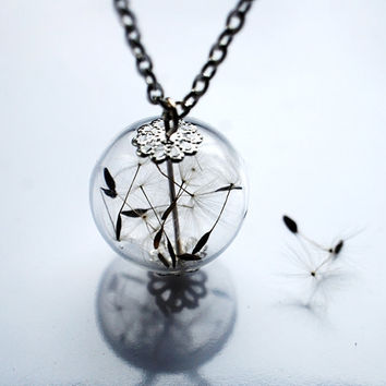 Dandelion Necklace Make A Wish 12 Glass Bead Orb Silver Necklace Botanical  Globe Beadwork
