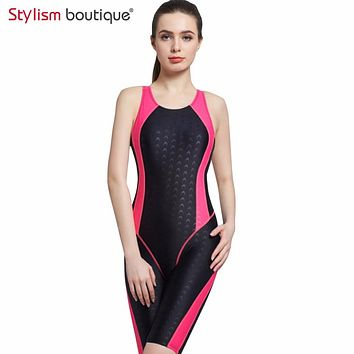 2018 Women Neck to Knee Competition Swimsuit Racing Suit One Piece Bathing suits One-piece Swimwear Girls Sport Swimsuits