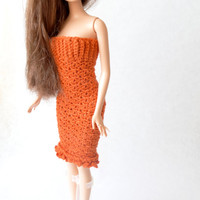 Crochet Barbie Doll Dress - Elegant Orange Stretchy Cocktail Dress for Fashion Doll, Great Gift for Girls or Barbie Collectors