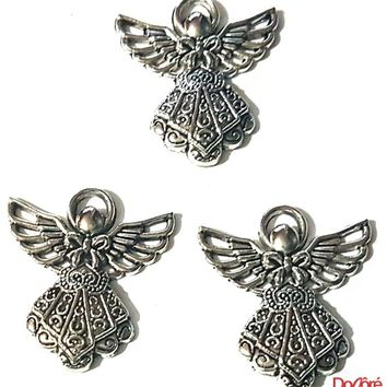 Pack of 4 Silver Fairy Angel Charms. 23mm x 25mm Metal Pendants. Create Beautiful Fairytale, Religious, Spring, Summer Theme Jewellery.