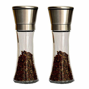 EIALA Stainless Steel Salt and Pepper Grinder Mill Set - Adjustable Coarseness Fine Powder and Stunning Glass Body - Brushed Stainless Steel Salt and Pepper Mills (2 X Long Bottles)