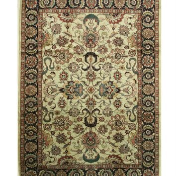 EORC Hand-knotted Wool Beige Traditional Oriental Mahal Rug