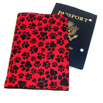 Dog Passport Cover red paw print passport by redmorningstudios