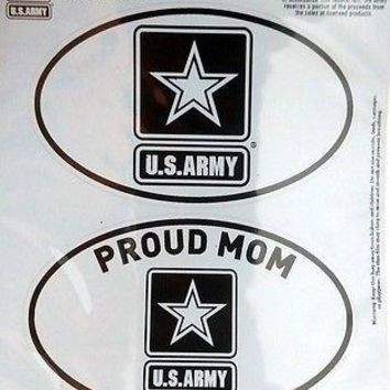 Army PROUD MOM 2-Pack EURO STYLE Auto Decals Sticker United States US Military