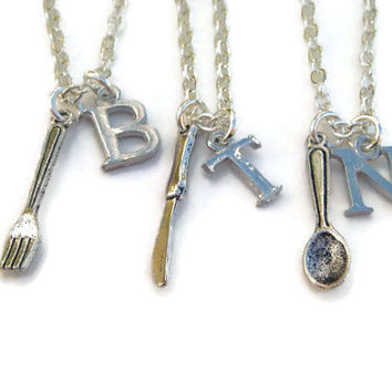 3 Best Friend Necklaces, Fork Knife Spoon Set, Friendship Jewelry, Sisters Necklace Set, Personalized With Initial, Xmas Gift For Friends