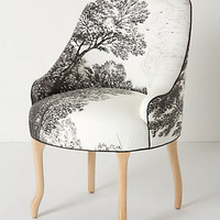 Handpainted Toile Pull-Up Chair