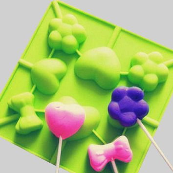 Hot sale Lollipop Chocolate Mould Diy Ice Tray Mold Ice Cube Candy Pudding Mold Love Bowtie Flower Random Color