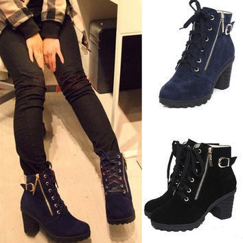 Black Blue Lace Up Zipper Lady Motorcycle High Heel Shoes Ankle Martin Boots = 1697488132