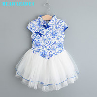 Bear Leader Chinese Style Girls Dress New Brand Dress Blue and White Porcelain Design Of High-Grade Chinese Style Dress