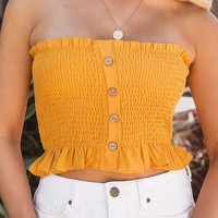 Hope Mustard Buttoned Crop Top
