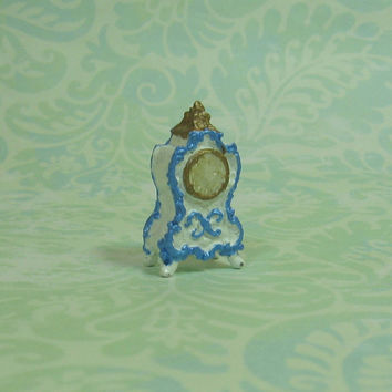 Dollhouse Miniature Elegant Blue & White Mantel Clock