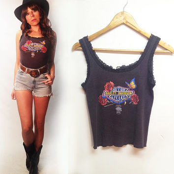 Vintage 1986 Harley Davidson 3D Emblem Tank Top || Size Small Vintage Lace Stretch Tee Top