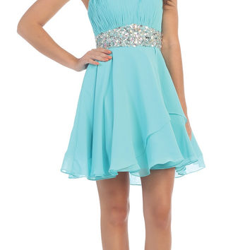 Short Chiffon Semi Formal Dress Tiffany Blue Rhinestone Waist