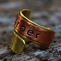 Personalized Copper & Brass Wrap Ring, Engraved / Handstamped Name Ring, Custom Mixed metal Jewelry