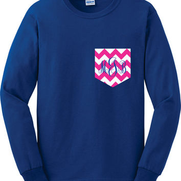Long Sleeved Monogram Pocket tee Chevron Pocket by Designs2Express