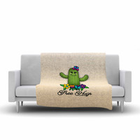 "Noonday Design ""Free Hugs Cactus"" Green Pastel Fleece Throw Blanket"