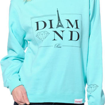 Diamond Supply Co. Girls Paris Blue Crew Neck Sweatshirt