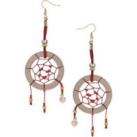 Dreamcatcher Thread Drop Earrings - Red