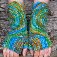 Colorful knit wrist warmers. Fingerless wool gloves. Unique accessories for women