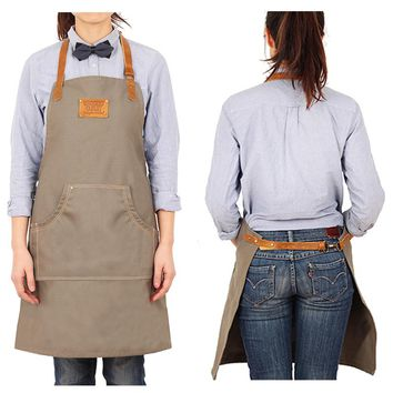BBQ Senior Canvas Khaki Apron Bib Leather Straps Kitchen Half apron for Women Men cooking Restaurant Waitress Custom Print Logo