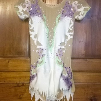 Figure skating dress or rhythmic gymnastic leotard with crystals, women and children sizes competition - made to order-