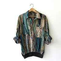 vintage abstract pullover. pocket shirt. henley shirt. printed blouse. green & yellow.