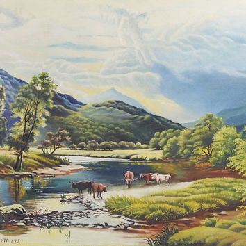 Western Cattle Ranch Scene WPA Style Painting