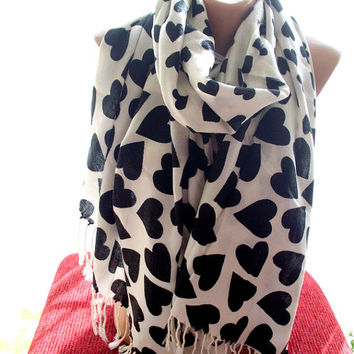 Pashmina scarf heart print scarves scarf women shawl black white scarf winter scarf winter shawl black white shawl