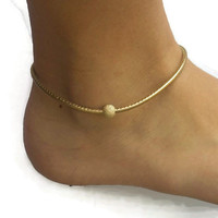 Metallic Gold Leather Anklet, Anklets for Women, Womens Anklet, Gold Anklet, Leather Ankle Bracelet, Womens Leather Jewelry